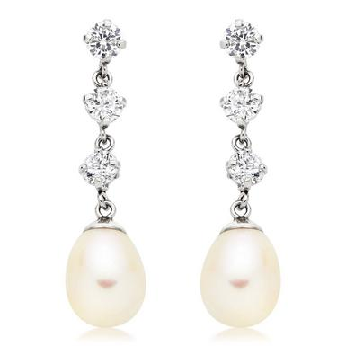 9ct White Gold Freshwater Pearl Cubic Zirconia Earrings