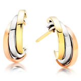 9ct Tri-Colour Gold Earrings