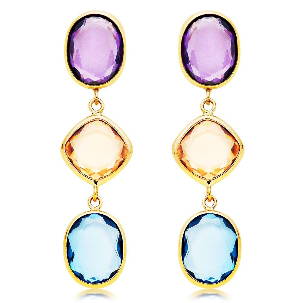 9ct Gold Three-Colour Cubic Zirconia Earrings
