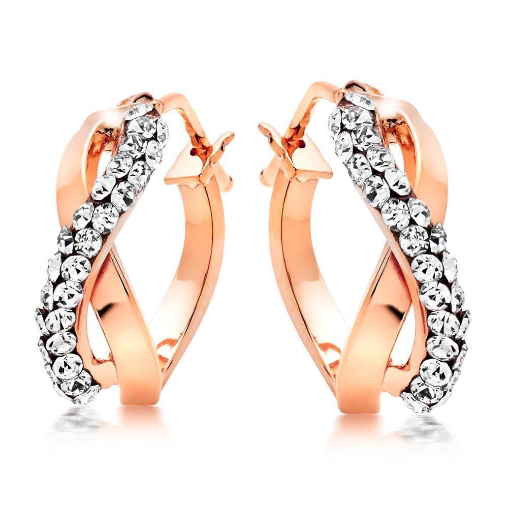 9ct Rose Gold Crystal Hoop Earrings