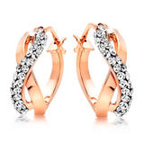 9ct Rose Gold Crystal Hoop Earrings
