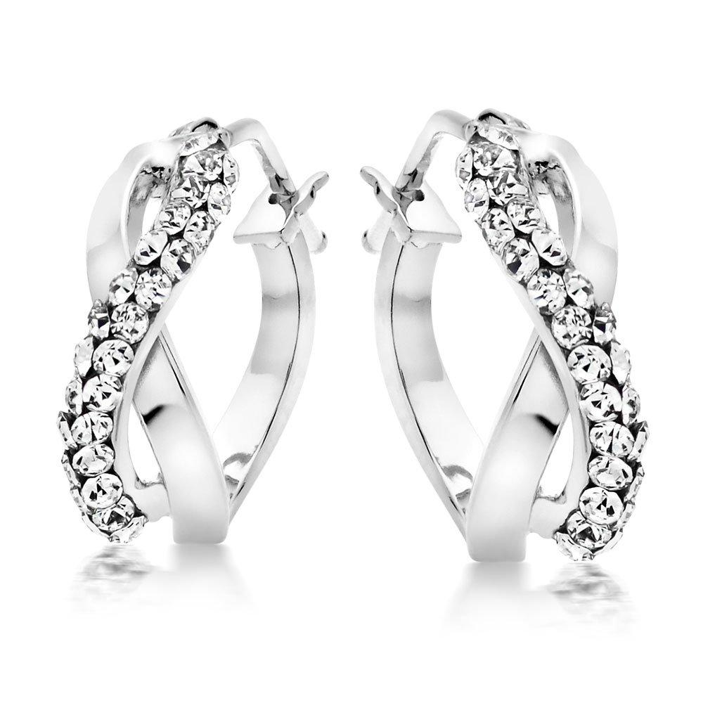 9ct White Gold Crystal Hoop Earrings