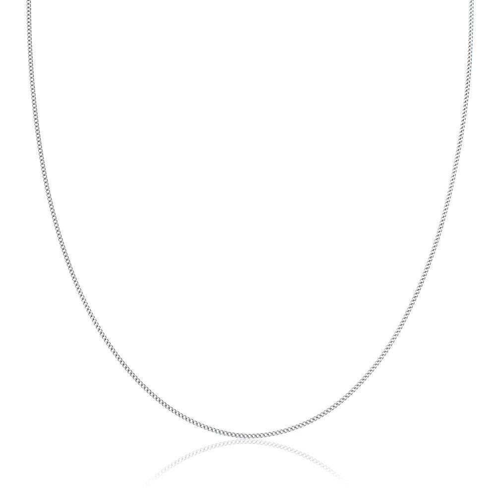 9ct White Gold Curb Chain 40cm
