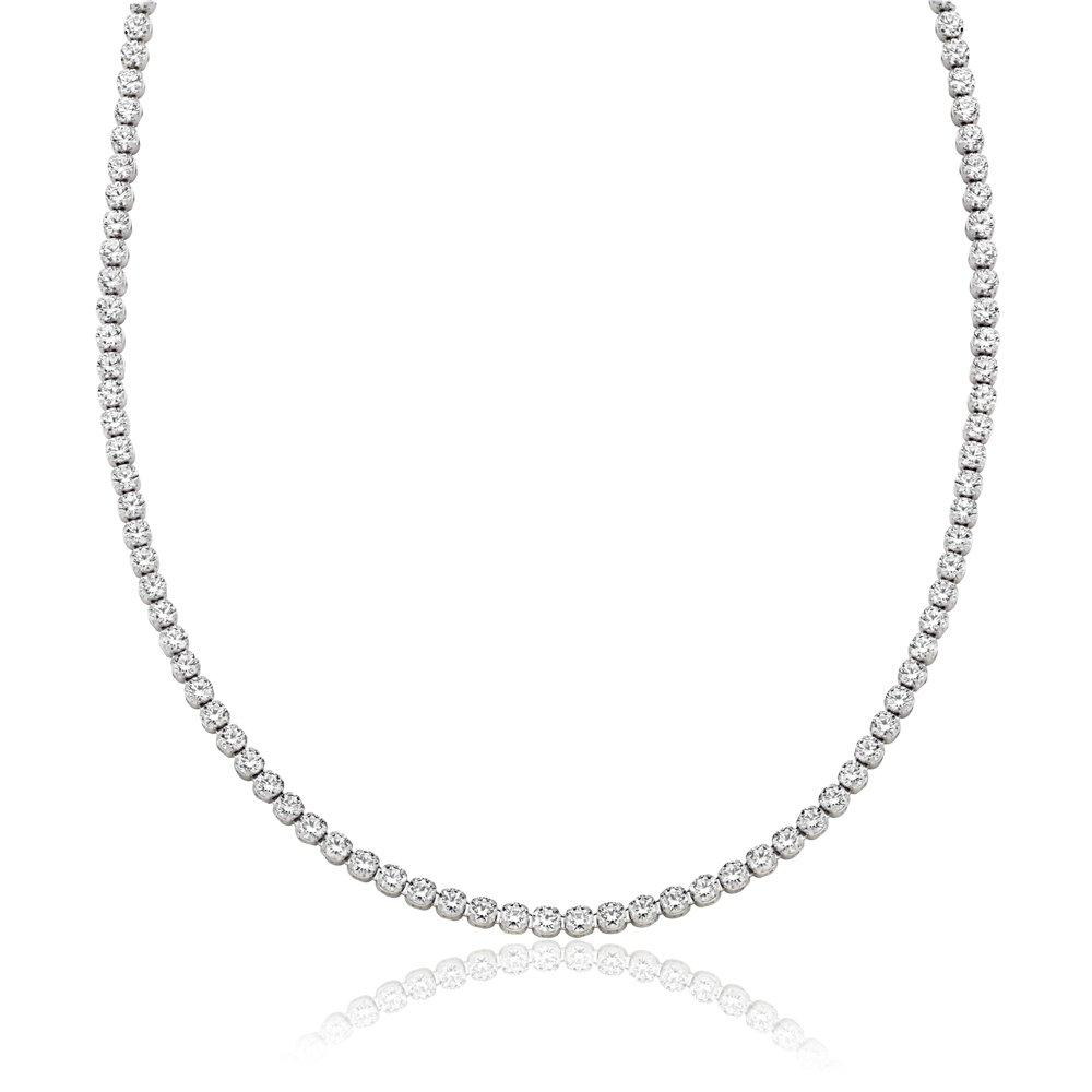 9ct White Gold Cubic Zirconia Collarette Necklace