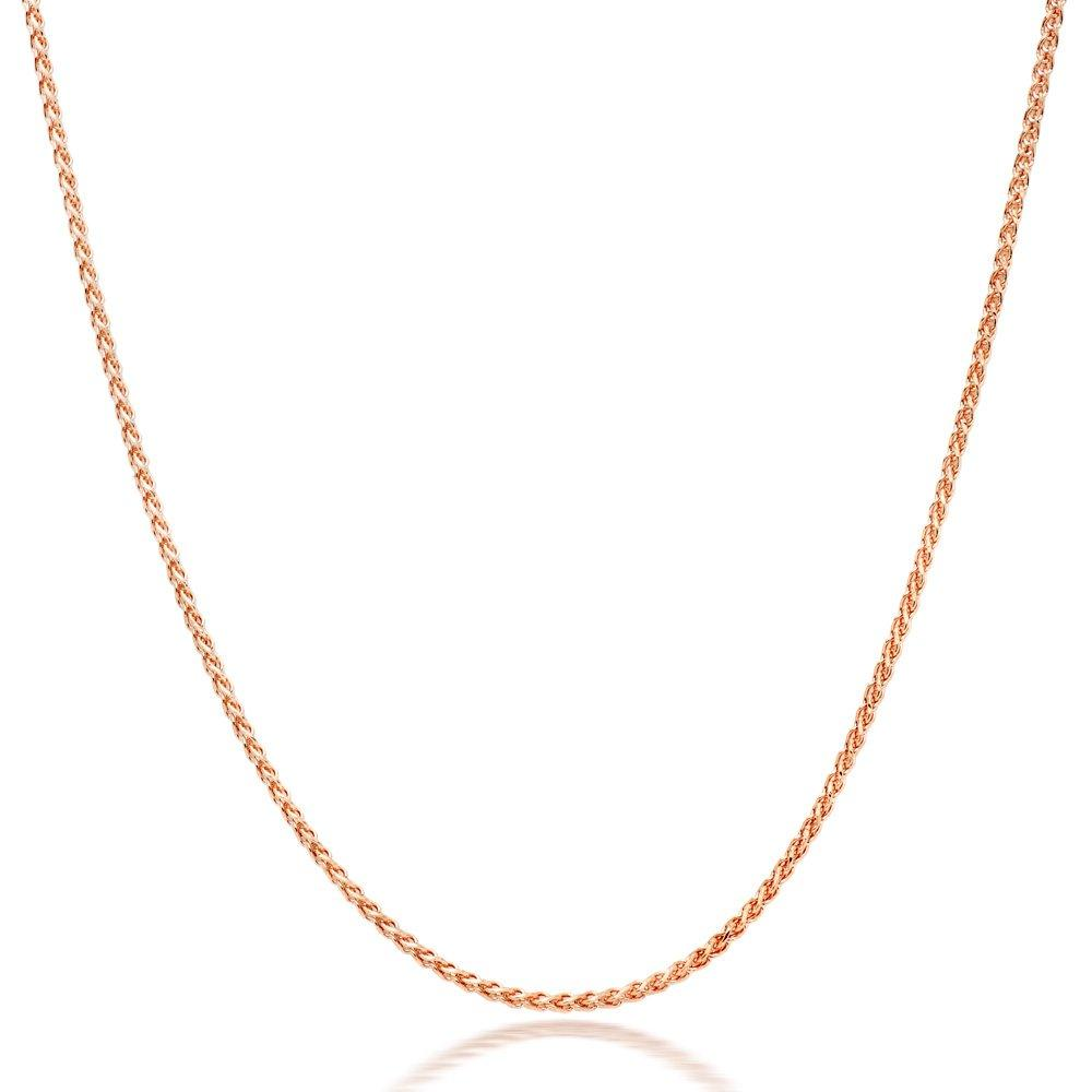 9ct Rose Gold Diamond Cut Spiga Chain 45cm