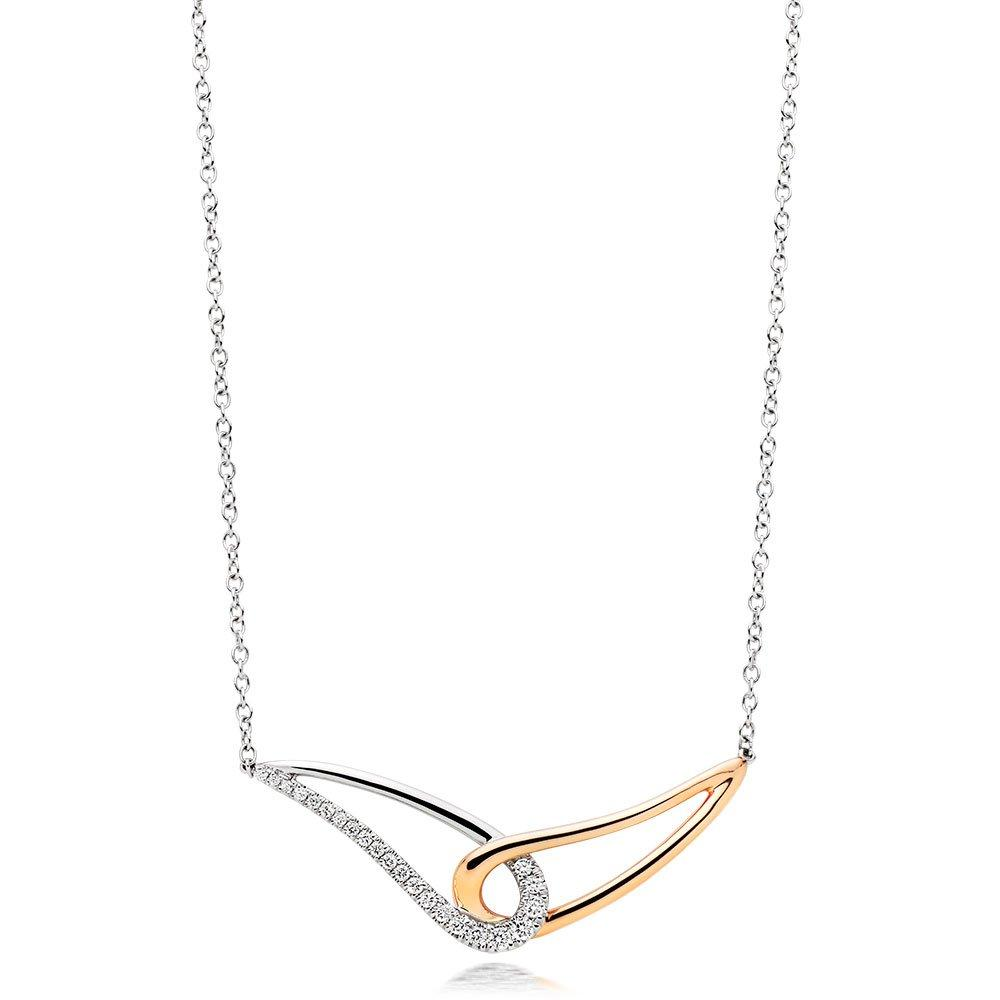 9ct White Gold and Rose Gold Diamond Necklace