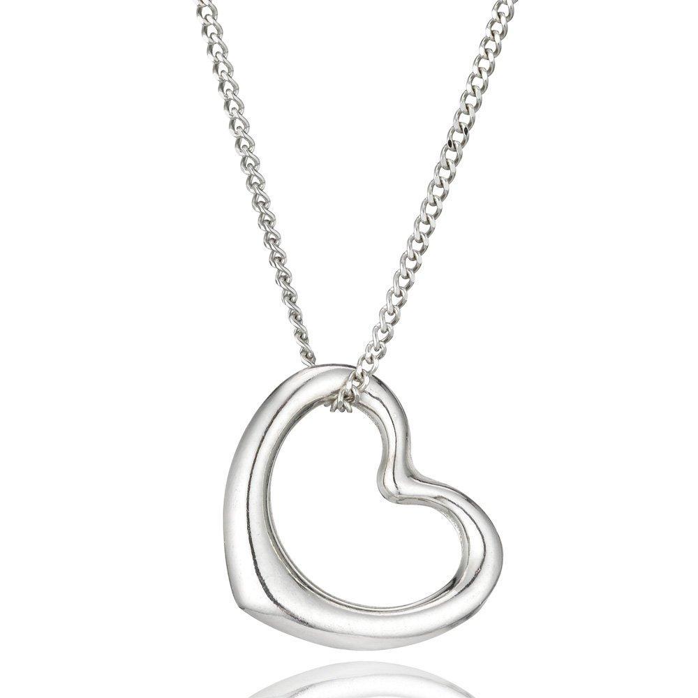 9ct White Gold Heart Pendant
