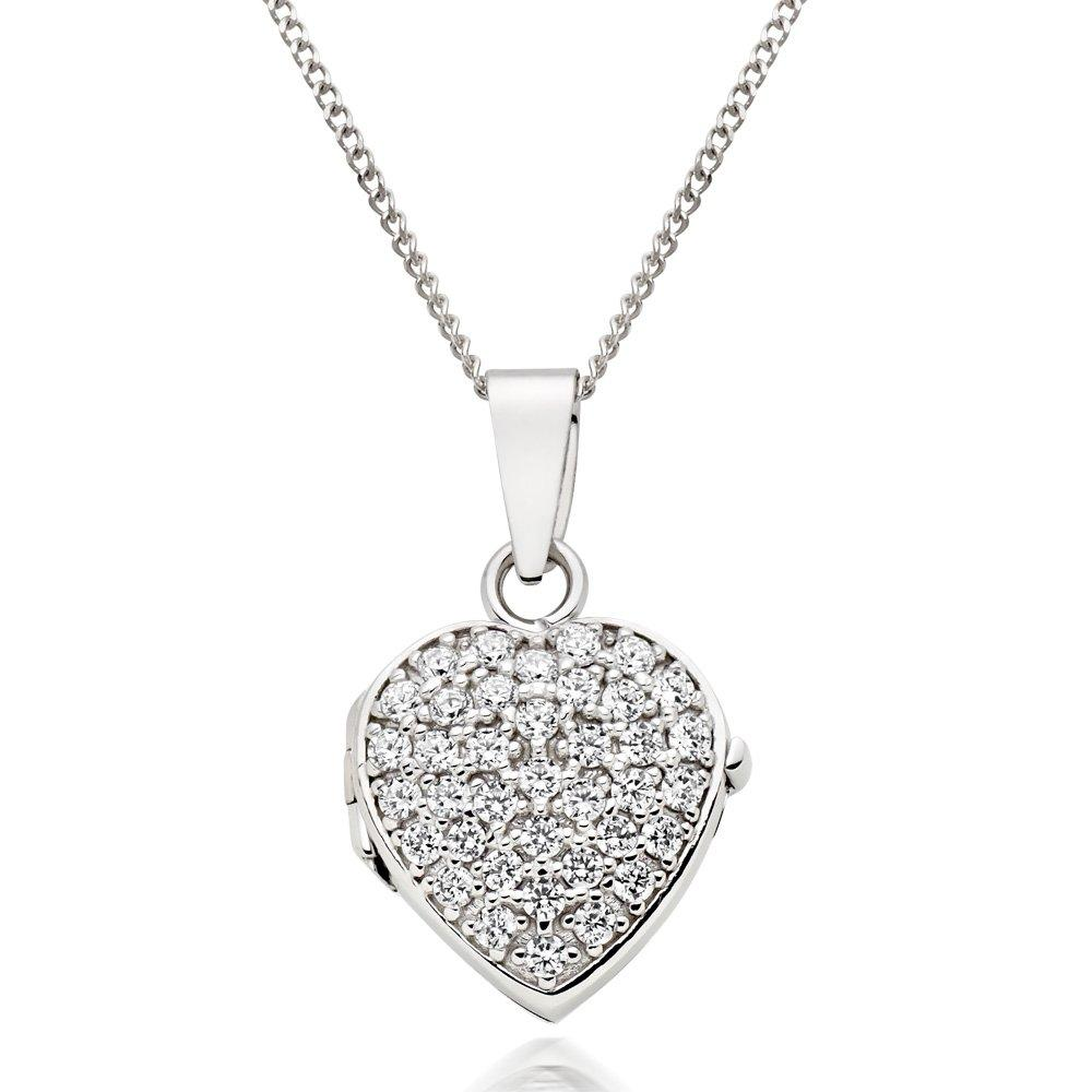 9ct White Gold Cubic Zirconia Heart Locket Pendant