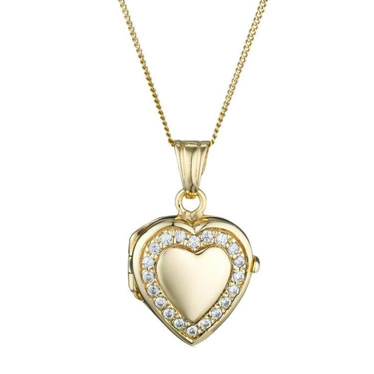 9ct Gold Cubic Zirconia Heart Locket Pendant