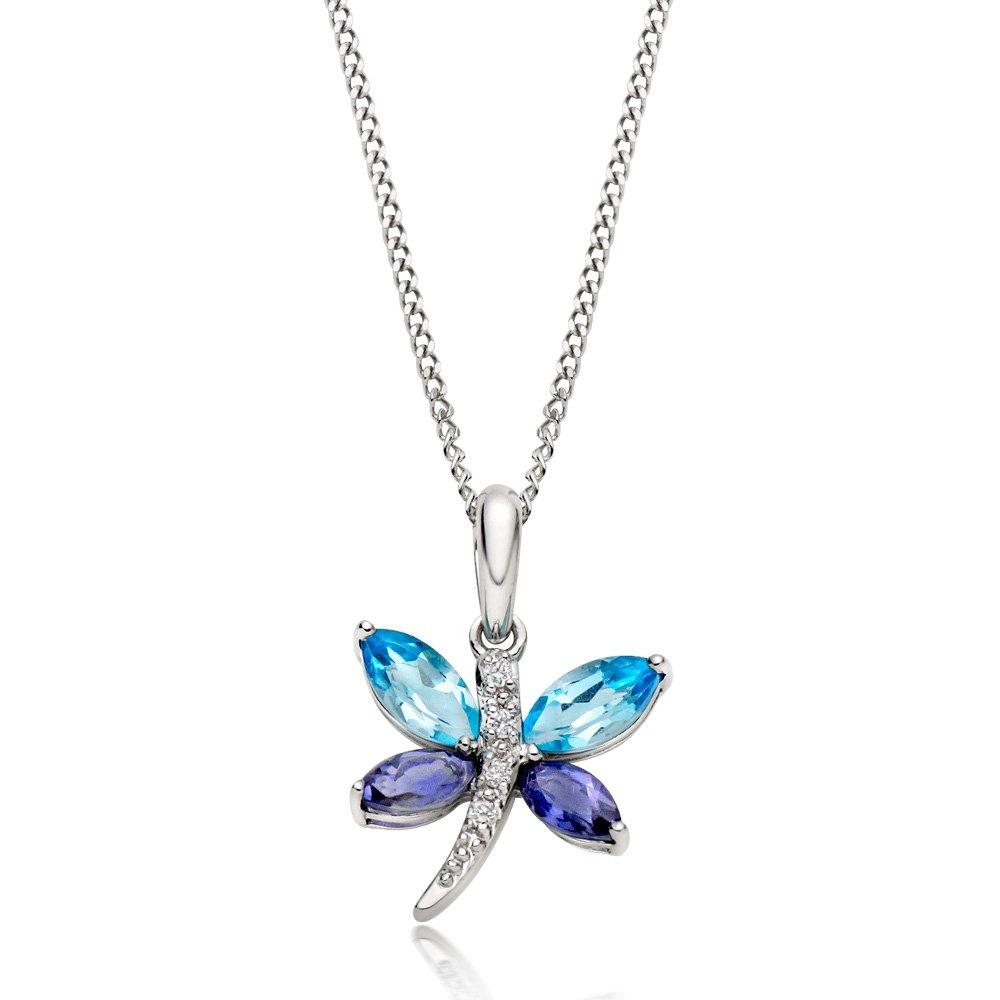 9ct White Gold Diamond, Blue Topaz and Iolite Butterfly Pendant