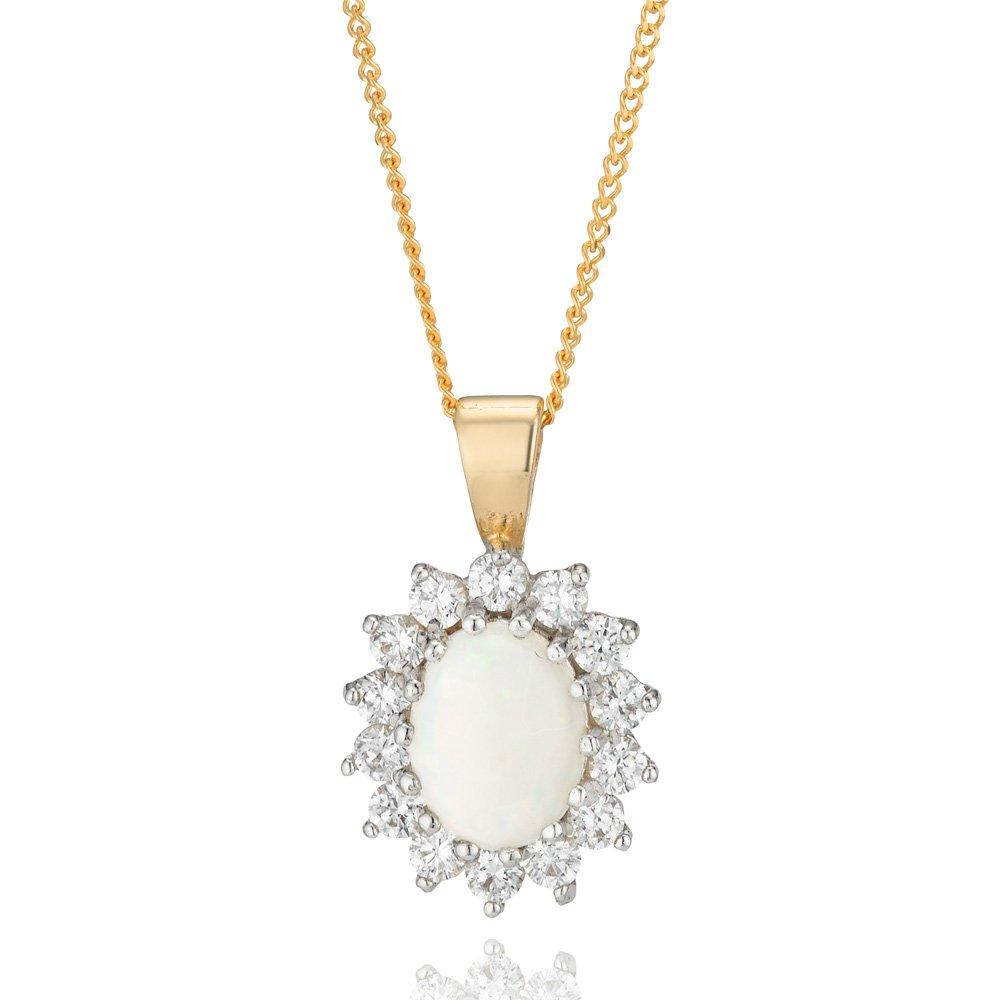 9ct Gold Opal and Cubic Zirconia Pendant