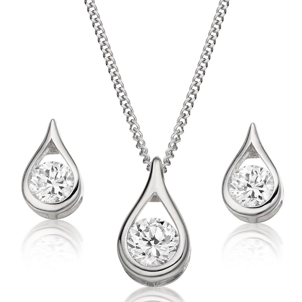 9ct White Gold Cubic Zirconia Pendant and Earrings Set