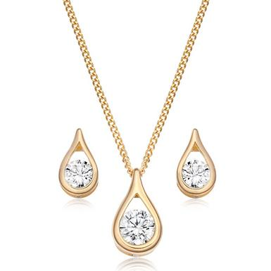 9ct Gold Cubic Zirconia Pendant and Earrings Set