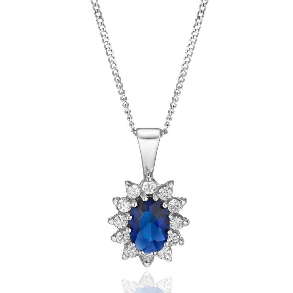 9ct White Gold Blue Cubic Zirconia Pendant