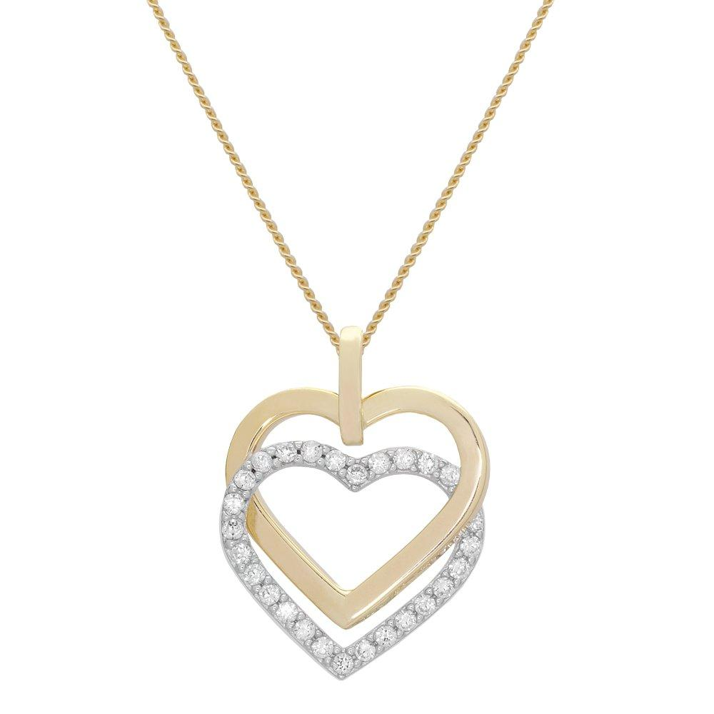 9ct Gold and White Gold Cubic Zirconia Heart Pendant