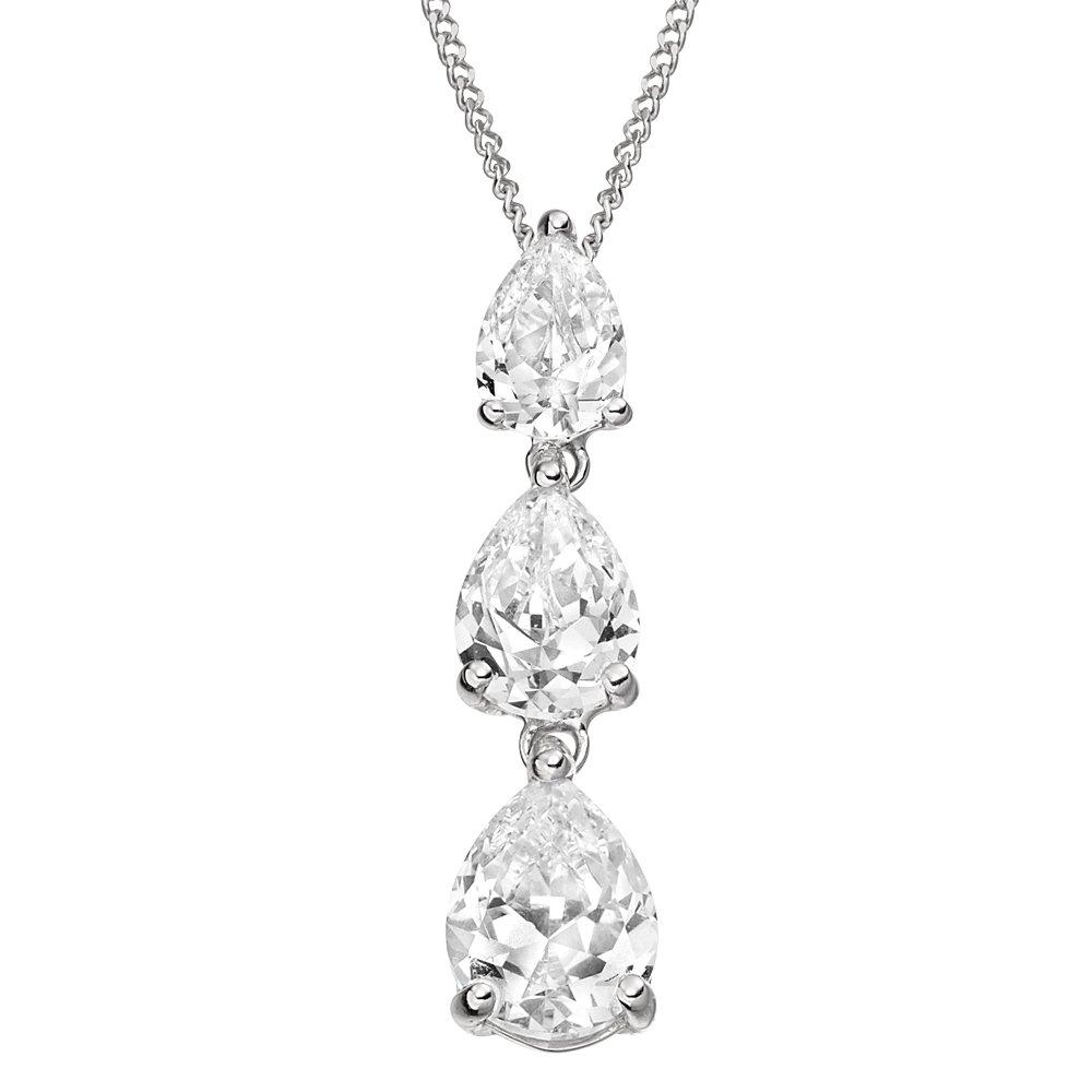 9ct White Gold Cubic Zirconia Drop Pendant