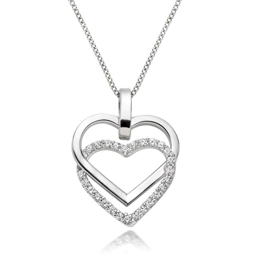9ct White Gold Cubic Zirconia Double Heart Pendant