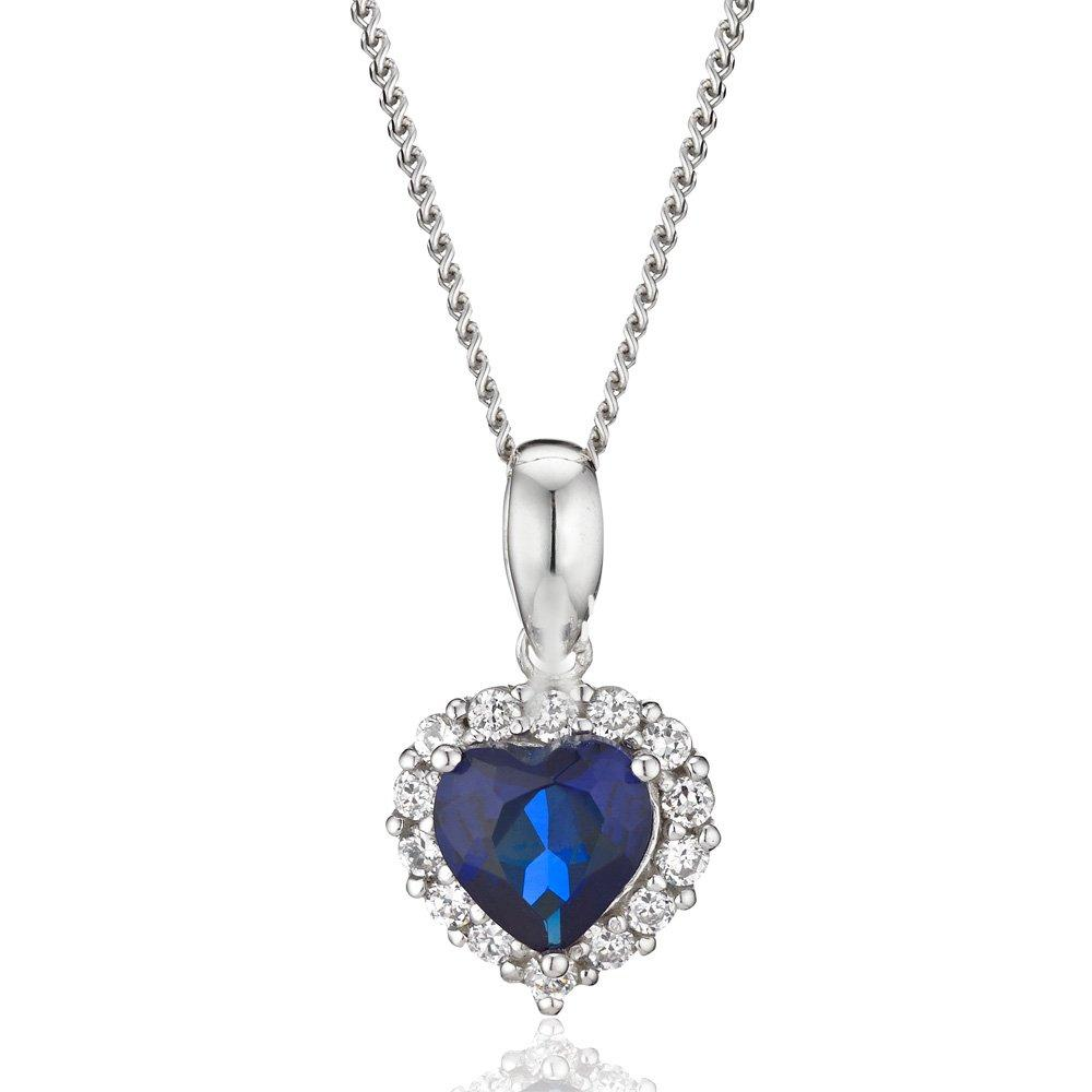9ct White Gold Cubic Zirconia Heart Pendant