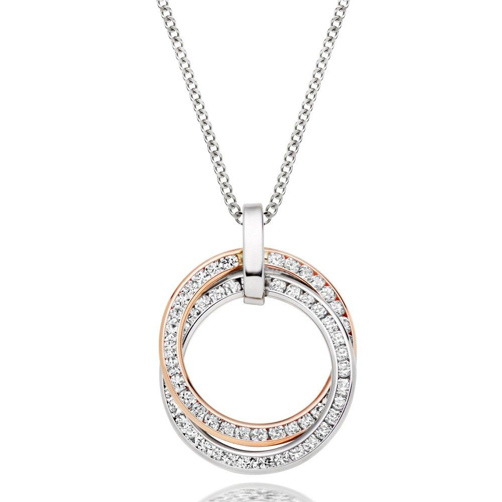 9ct White and Rose Gold Cubic Zirconia Hoop Pendant