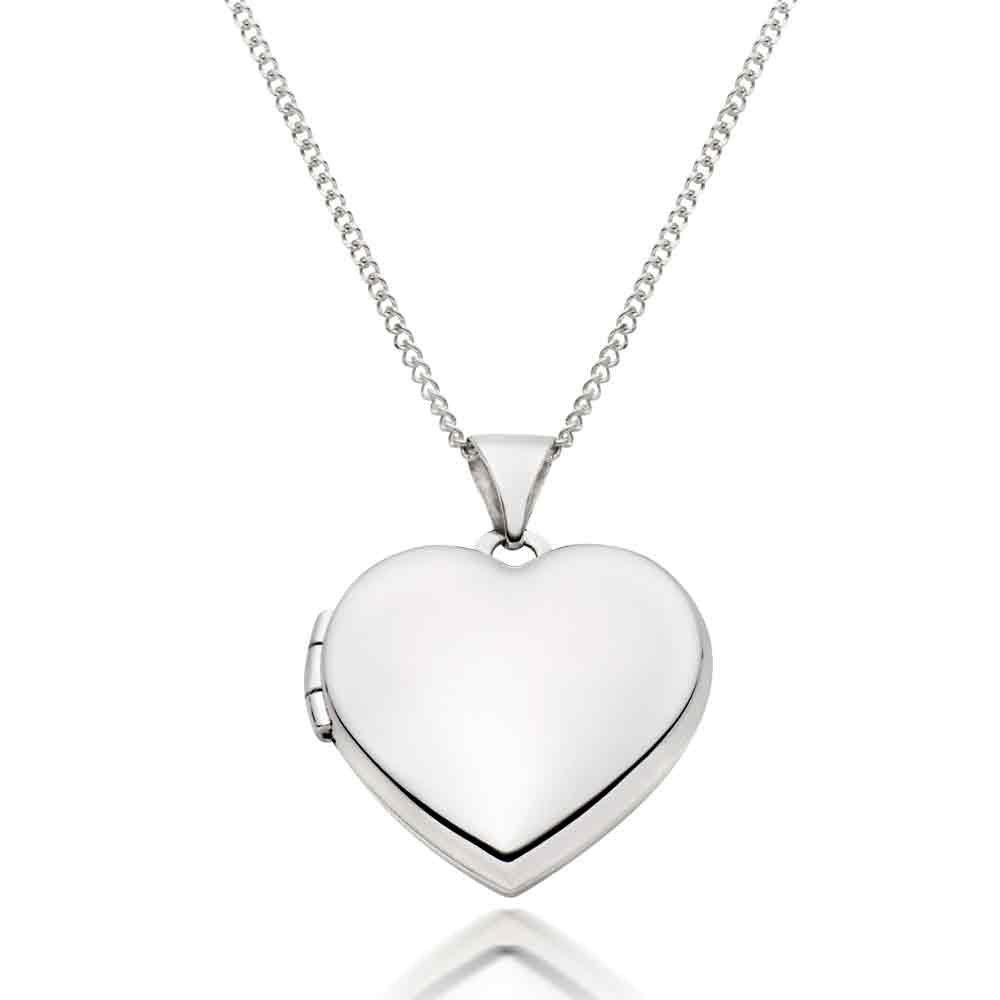 9ct White Gold Heart Locket Pendant