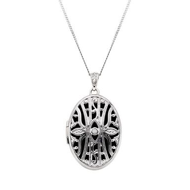 9ct White Gold Diamond Oval Locket Pendant