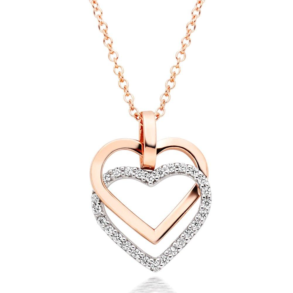 9ct Two Colour Gold Cubic Zirconia Hearts Pendant