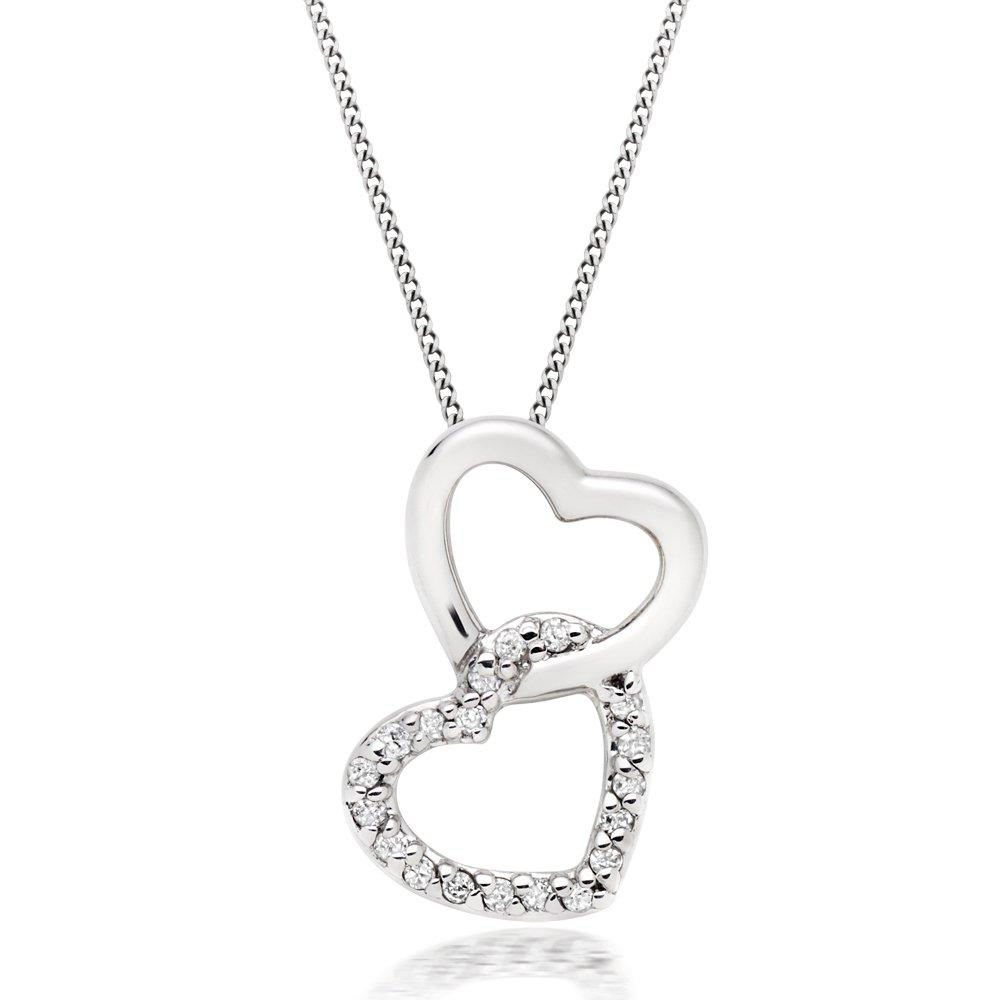 9ct White Gold Diamond Double Heart Pendant