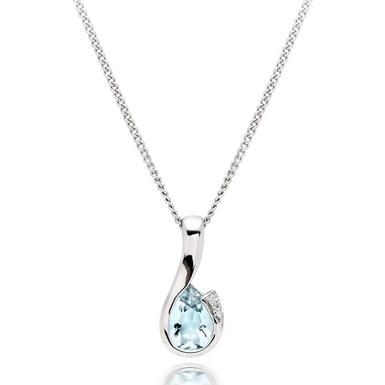 9ct White Gold Diamond Aquamarine Pendant