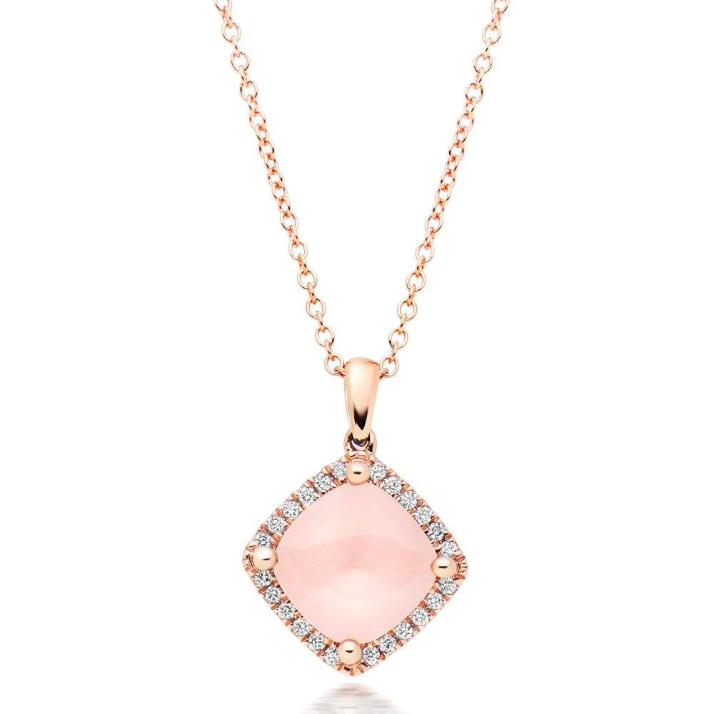 9ct Rose Gold Diamond Quartz Pendant