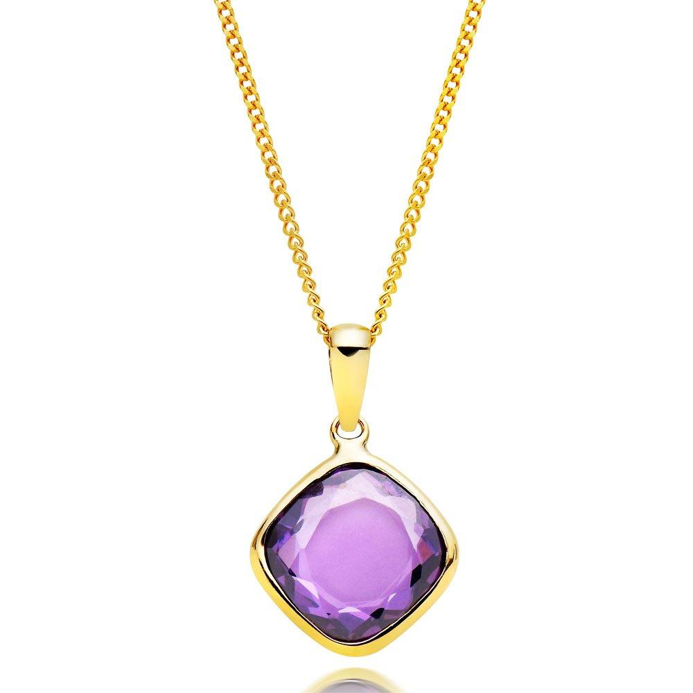 9ct Gold Purple Cubic Zirconia Pendant