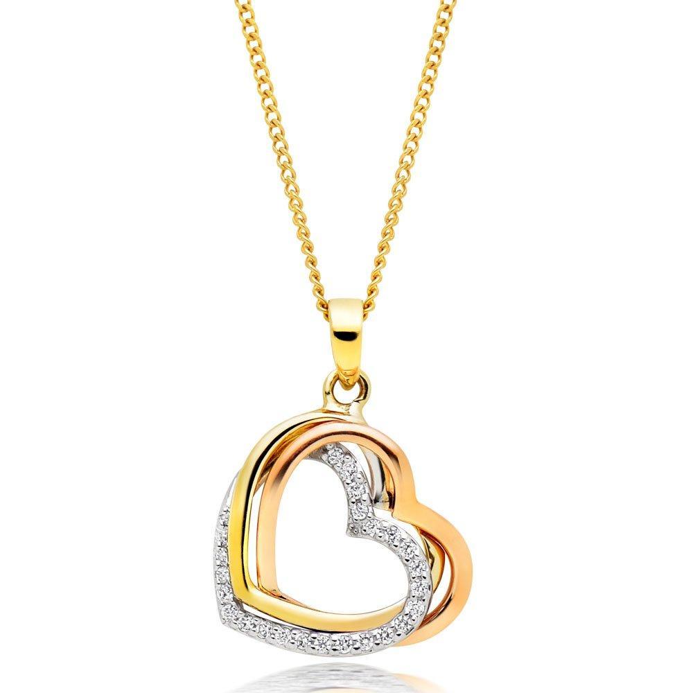 9ct Tri-Tone Gold Cubic Zirconia Heart Pendant