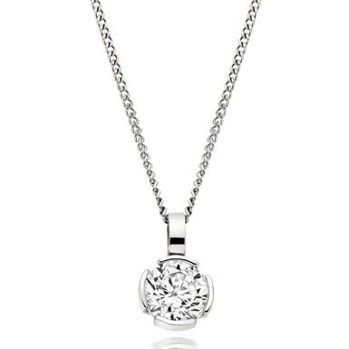 9ct White Gold Cubic Zirconia Pendant