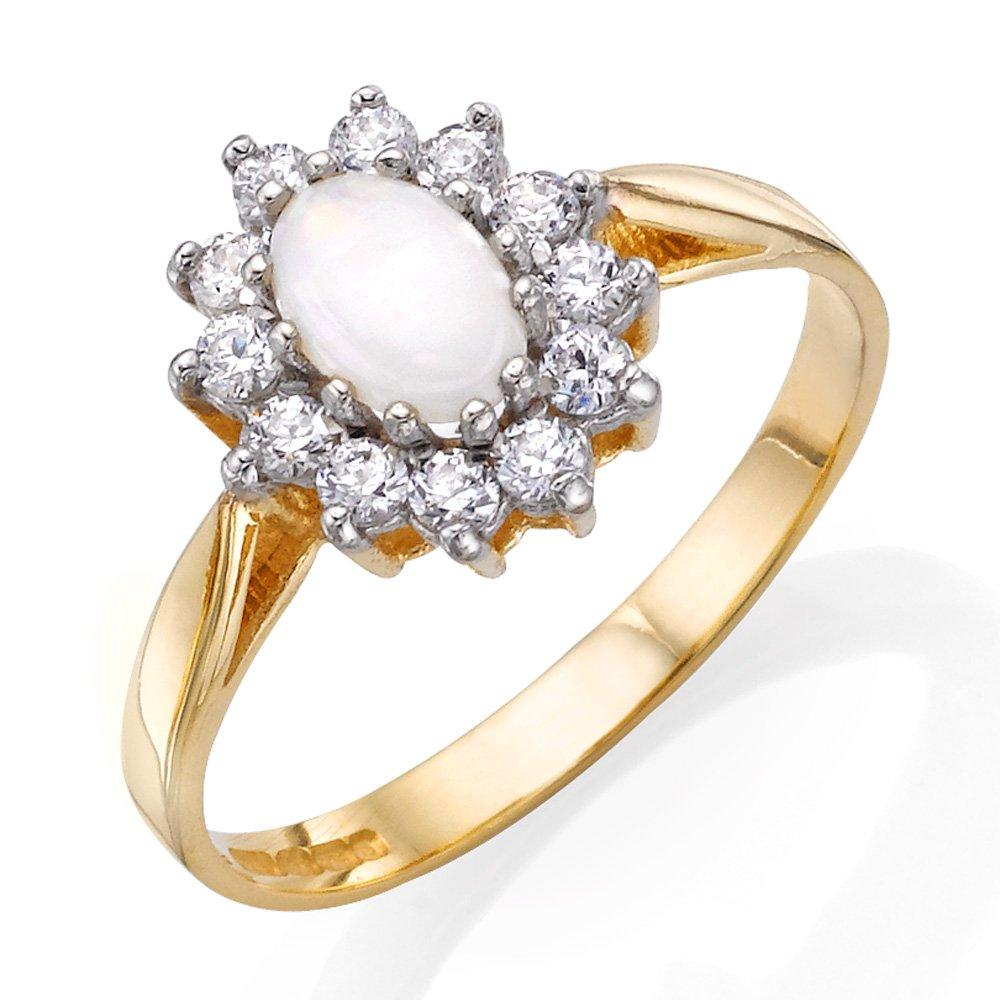 9ct Gold Cubic Zirconia and Opal Ring