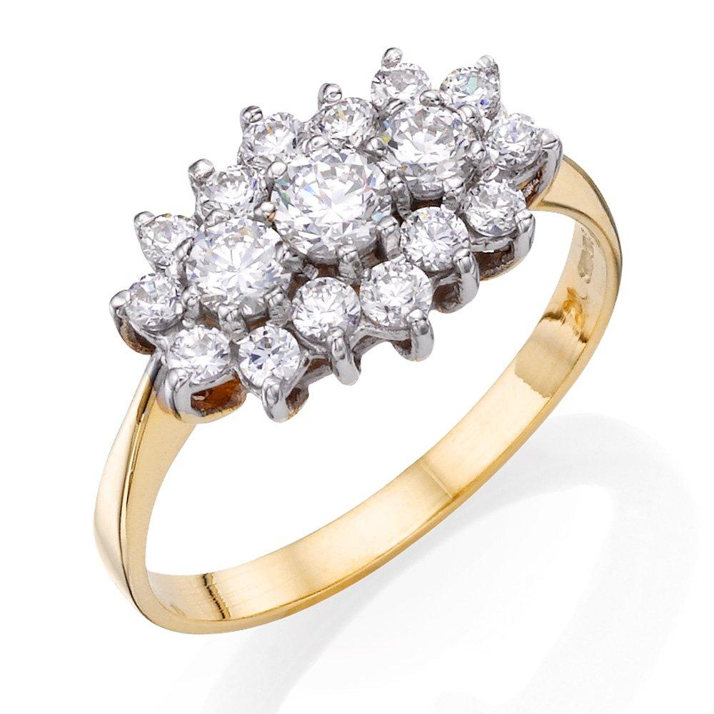 9ct Gold Cubic Zirconia Cluster Ring