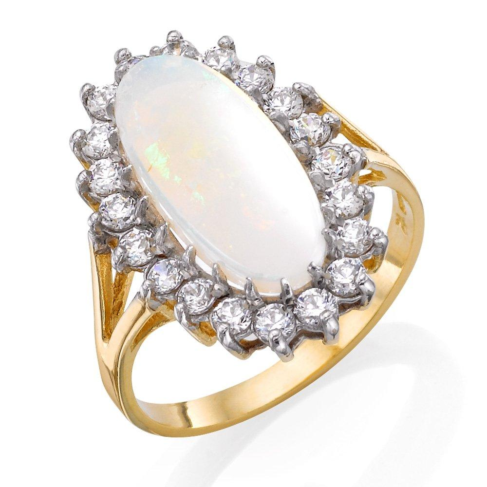9ct Gold Cubic Zirconia and Opal Cocktail Ring