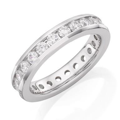 9ct White Gold Cubic Zirconia Full Eternity Ring