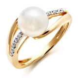 9ct Gold Diamond Freshwater Cultured Pearl Ring