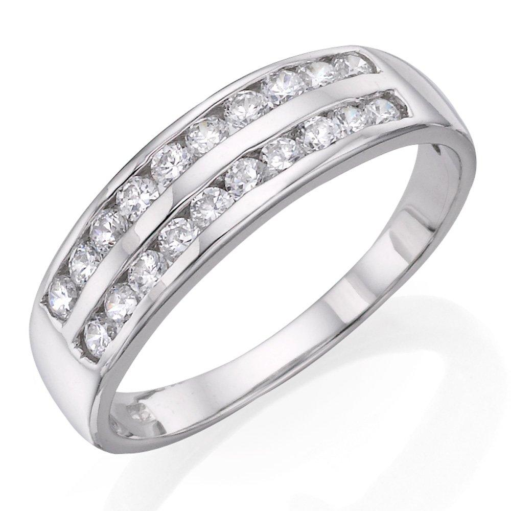9ct White Gold Two Row Cubic Zirconia Ring