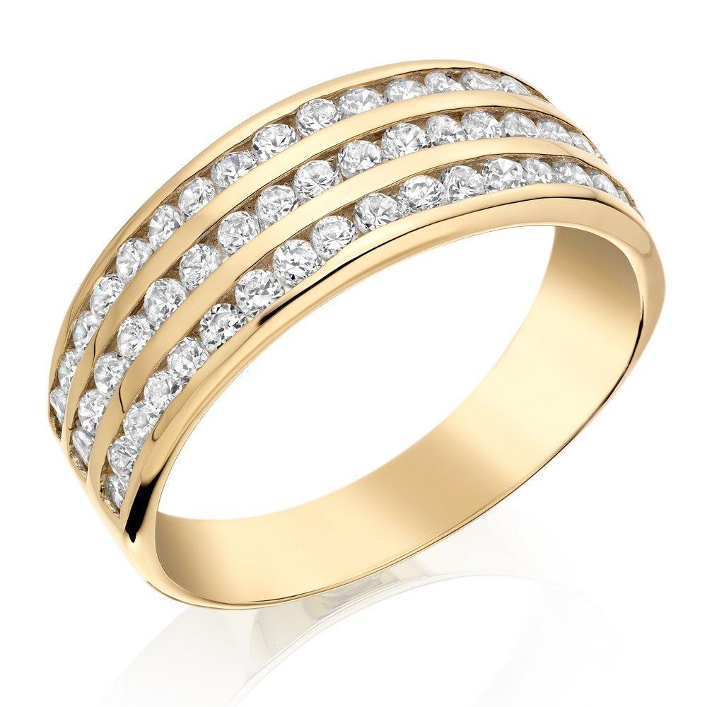 9ct Gold Three Row Cubic Zirconia Ring