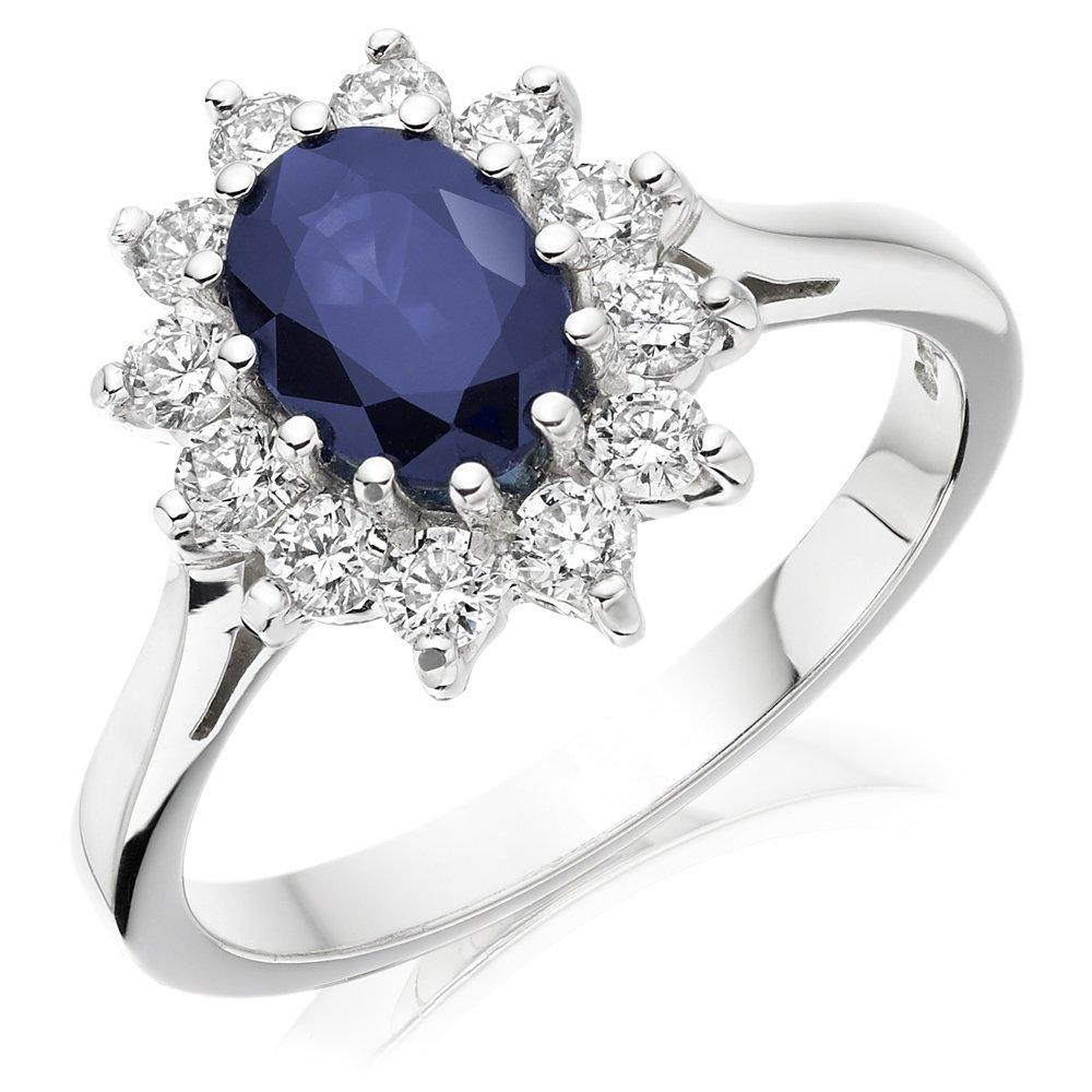 9ct White Gold Blue Cubic Zirconia Cluster Ring