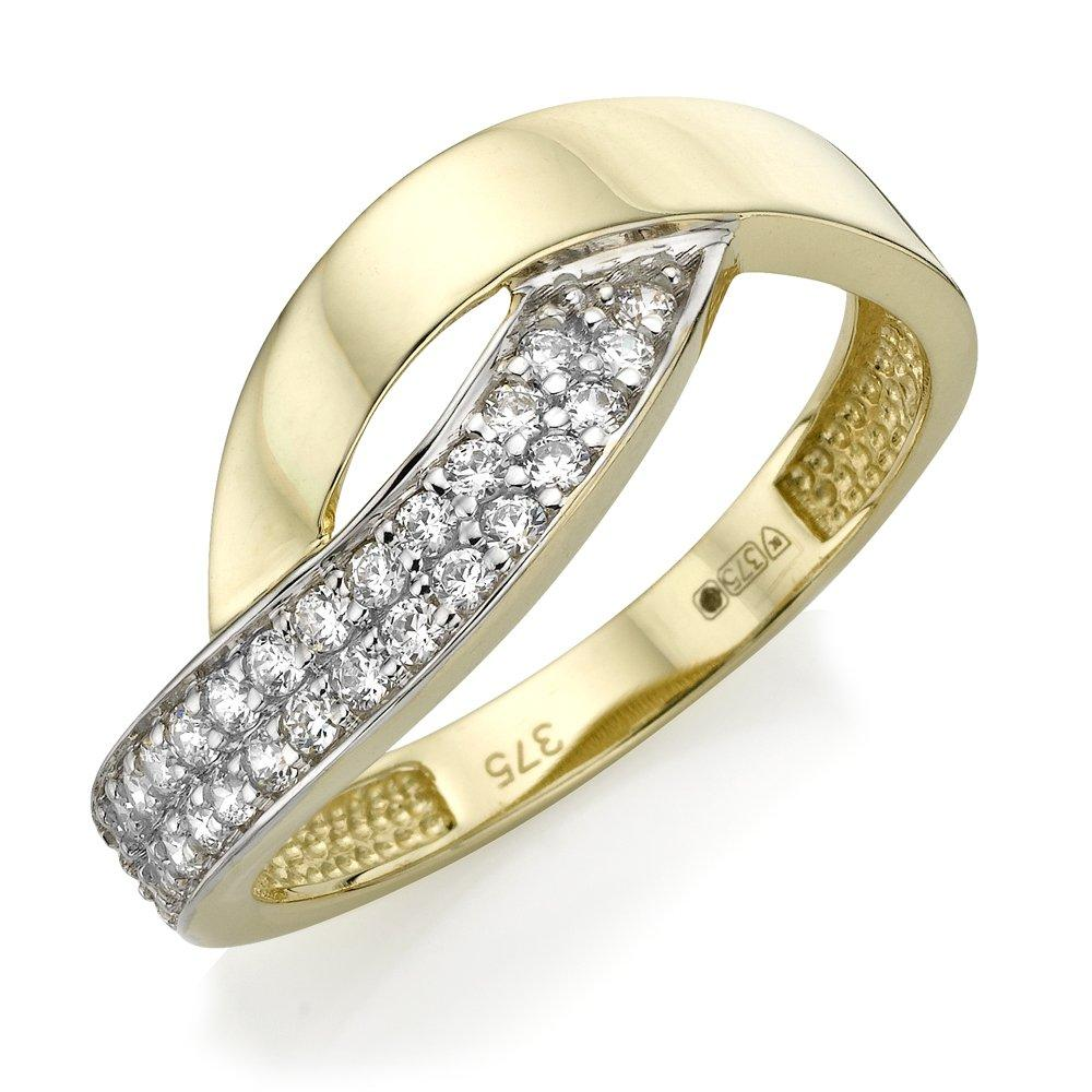 9ct Two Coloured Gold Cubic Zirconia Ring