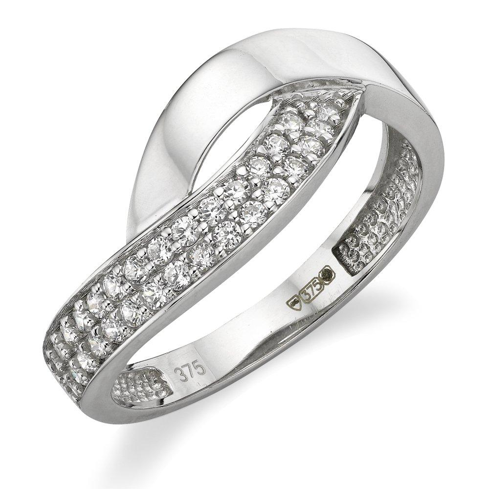 9ct White Gold Cubic Zirconia Ring.