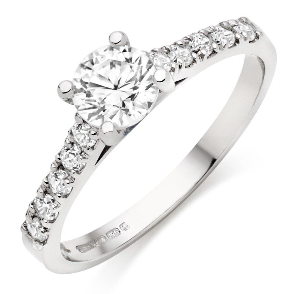 9ct White Gold Cubic Zirconia Solitiaire Ring