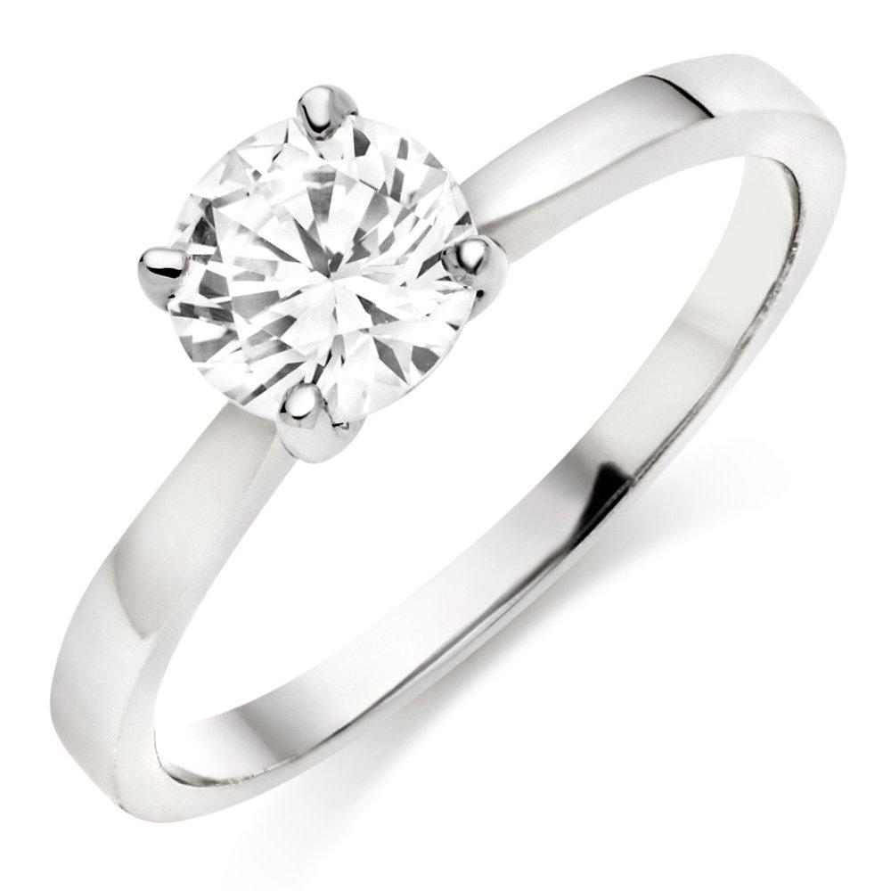 9ct White Gold Cubic Zirconia Solitaire Ring