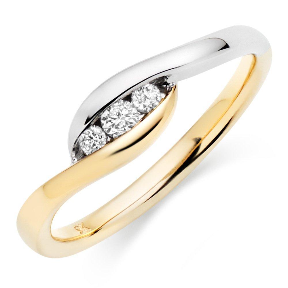 Era Trio 9ct Two Colour Diamond Ring