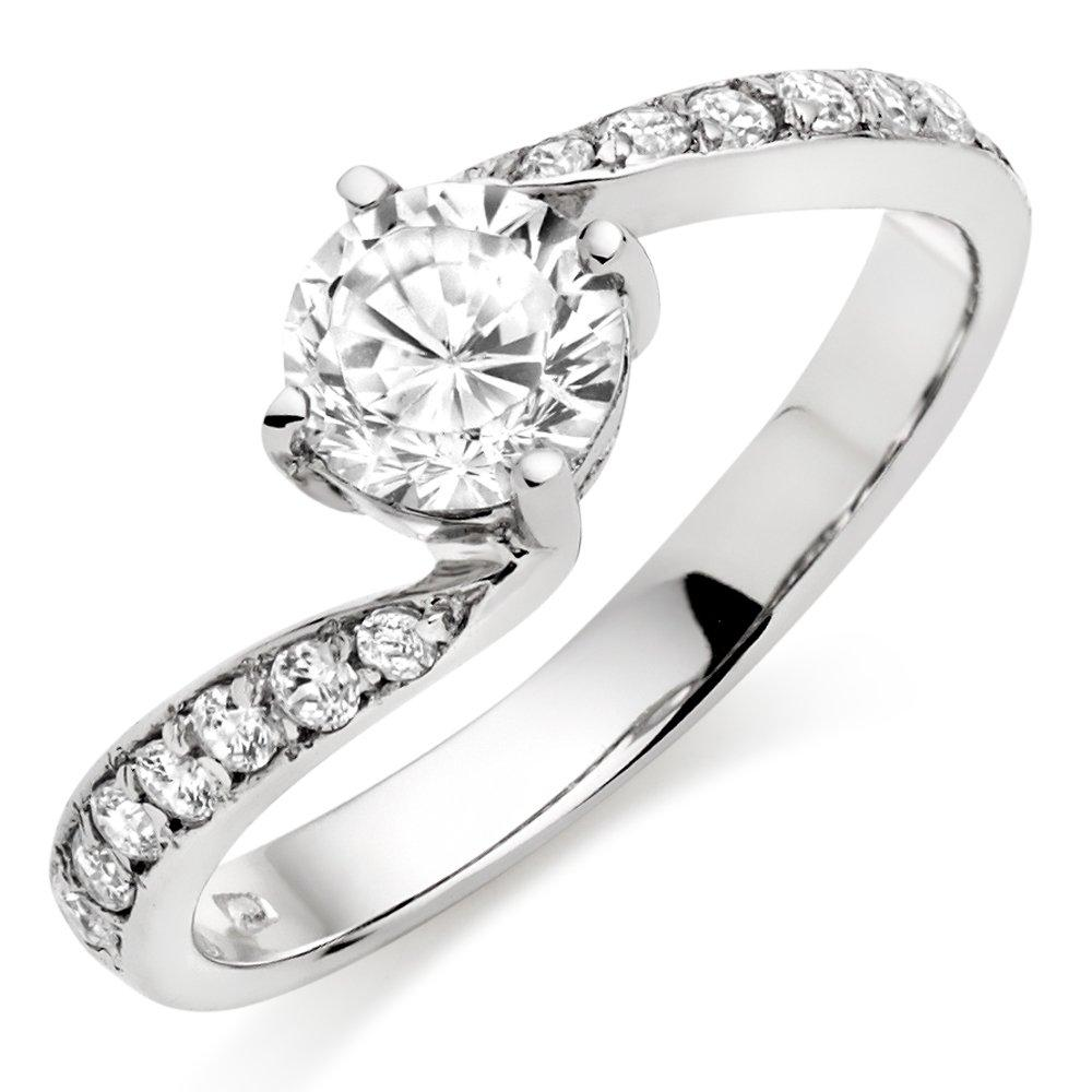 9ct White Gold Cubic Zirconia Twist Ring