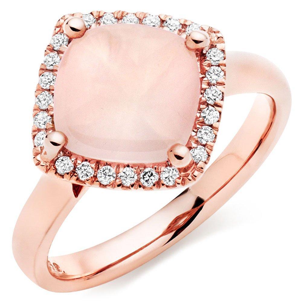 9ct Rose Gold Diamond Rose Quartz Cocktail Ring
