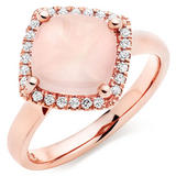 9ct Rose Gold Diamond Rose Quartz Cocktail Ring