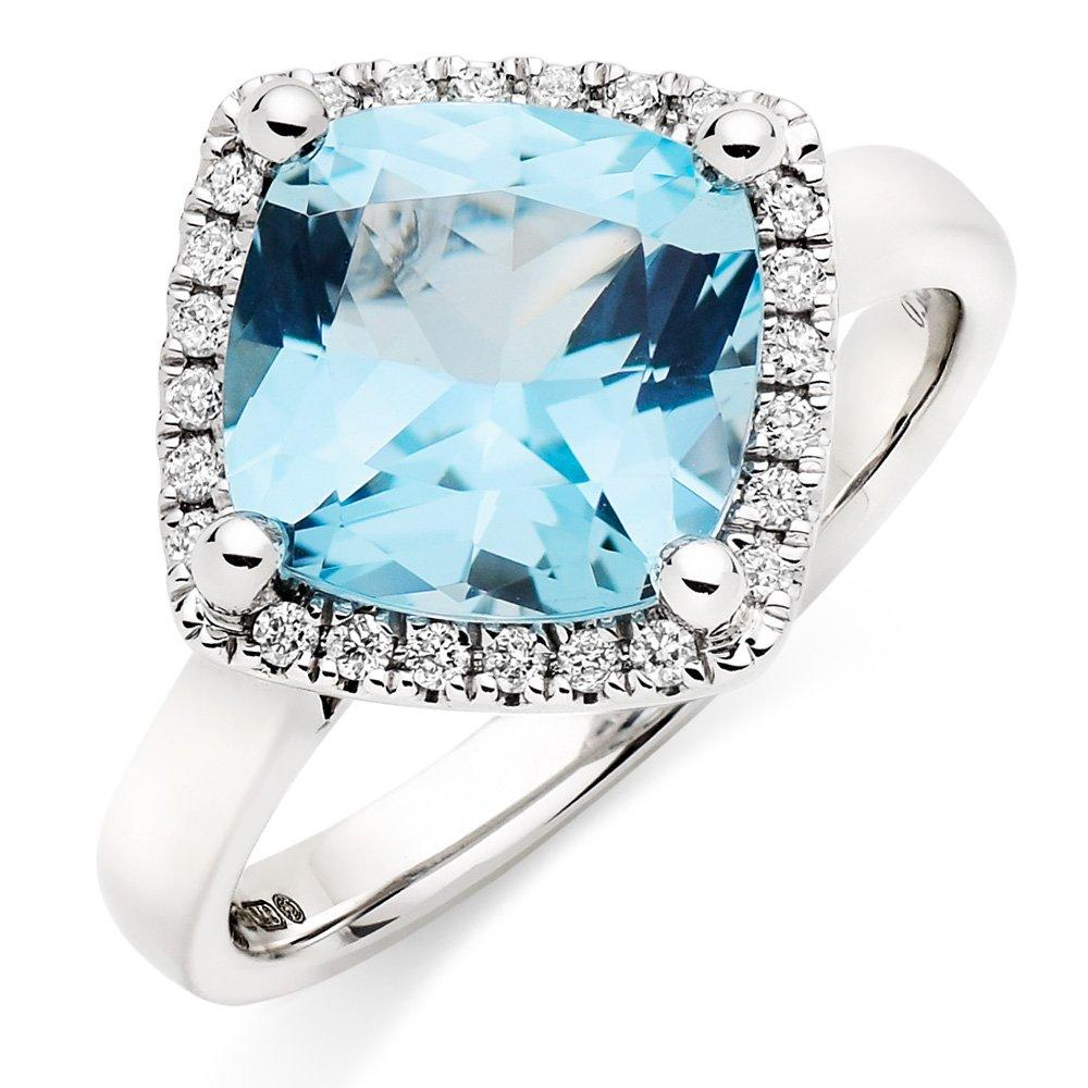 9ct White Gold Blue Topaz Diamond Cocktail Ring