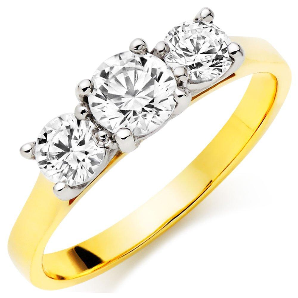 9ct Gold Cubic Zirconia Three Stone Ring